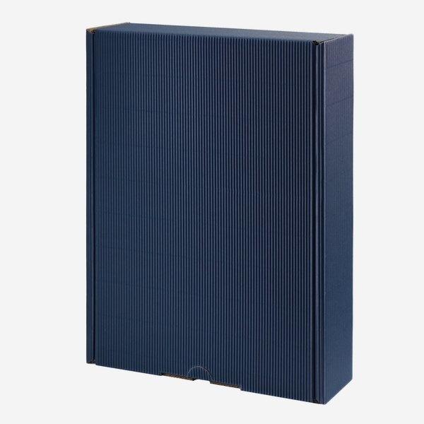 Geschenkkarton blau/ groß mit Holzwolle