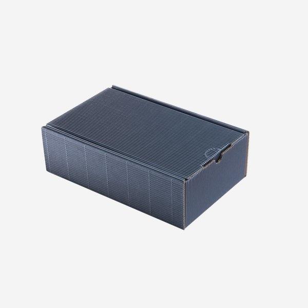 Geschenkkarton blau/ mittelgroß mit Holzwolle