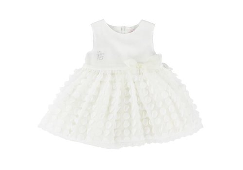 Piccola Speranza Baby jurk wit met bolletjes