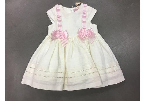 Piccola Speranza Baby jurk met 2 roze strikjes