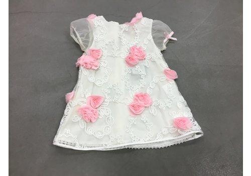 Piccola Speranza Baby jurk wit met roosjes