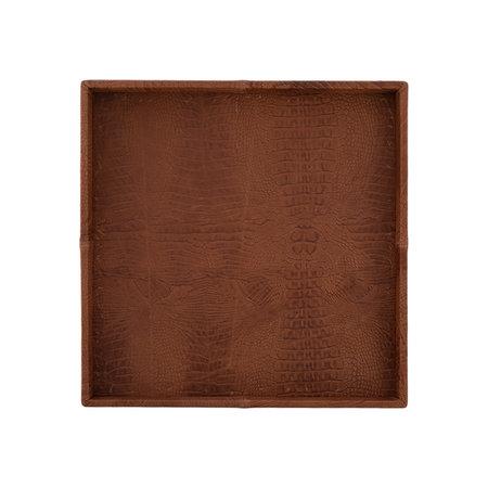Exclusieve leren dienblad croco print Cognac L60 B60 H6