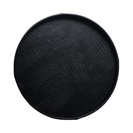 Exclusieve ronde leren dienblad croco print Zwart L50 B50