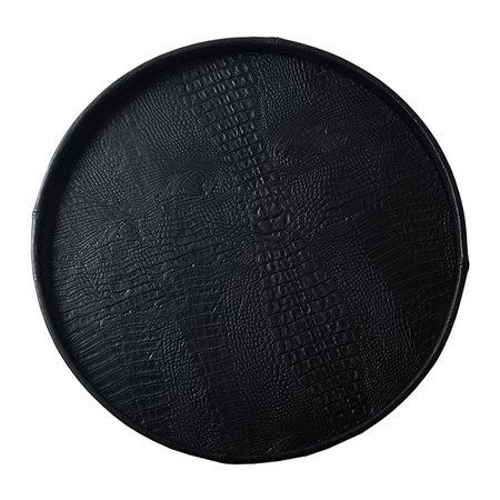 Exclusieve ronde leren dienblad croco print Zwart D70 H6