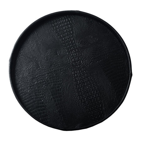 Exclusieve ronde leren dienblad croco print