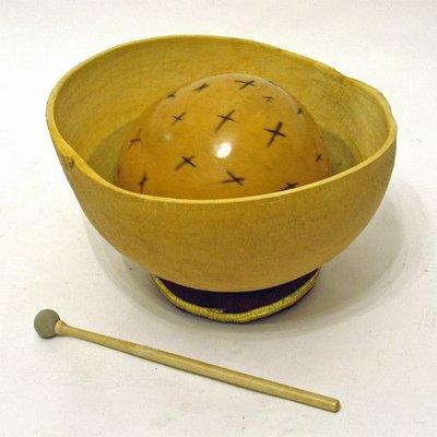 Waterdrum-set: 2 kalebassen 15 en 30 cm + ring + stok