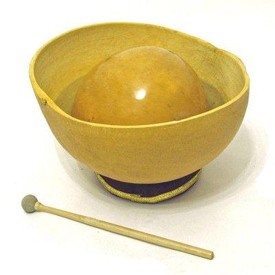 Waterdrum-set: 2 kalebassen 20 en 35 cm + ring + stok