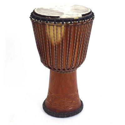 Bouba Percussion Djembé Guinee Ø 32,5 cm, koeienvel, dyneema touw, Bouba
