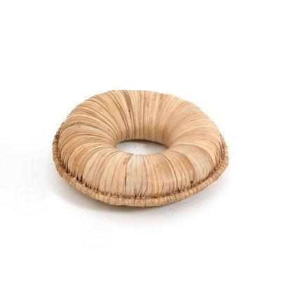 Onderzetter Ø 14 cm voor kalebas, dikke ring, van riet, fijn