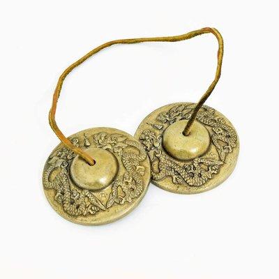 Rytmelo Tingsha's met drakenmotief, Ø 6,5 cm, India