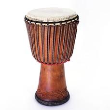 Bouba Percussion Djembé Guinee, melina hout, Ø 30 cm, rubber onderrand
