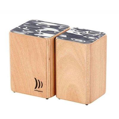 Schlagwerk Bongo's van hout, gecombineerd met klittenband, Schlagwerk