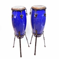 Conga-set 10'' + 11'' blauw, incl. stands, Hayman