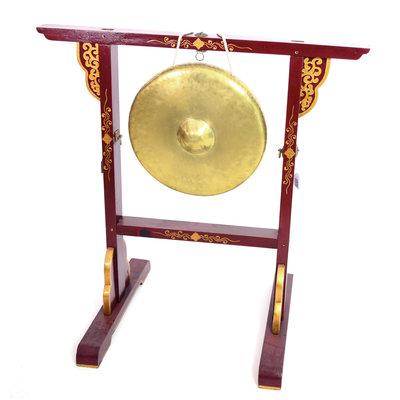 Gong uit India, Ø 36 cm, incl. houten standaard en klopper