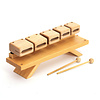 Woodblock-set van 5 blocks op houten onderzetter, Stable