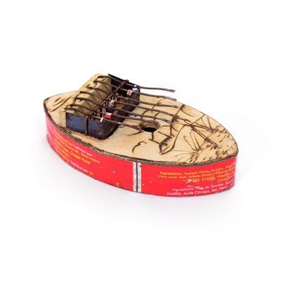 Kalimba van conservenblik, puntig model, 7 tonen