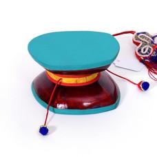 Damaru, kleine rituele drum met dubbelvel (incl. tasje)