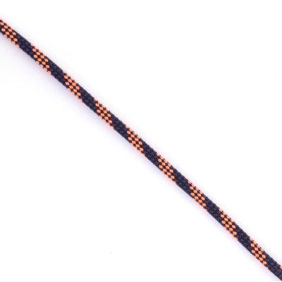 Touw dyneema Stigslag 4,5 mm, zwart-blauw-oranje (p/m)
