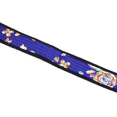 Djembé-draagband blauw, met bloemen, 4,5 meter lang