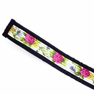 Djembé draagband zwarte rand, midden wit met bloemen