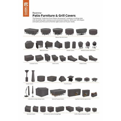 Ravenna, Classic Accessories Hoes voor tuinset, tuinmeubel hoes voor grote buiten tafel met 6 tuinstoelen,  224 x 147 H: 58 cm