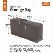 Ravenna, Classic Accessories Tas voor 4 lage rug kussens, storage bag voor tuin kussens, opbergtas voor buitenkussens, 116 x 51 x 35 cm