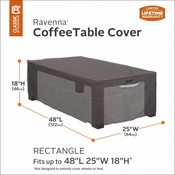Ravenna, Classic Accessories Hoes voor Coffee Table, beschermhoes lage koffie tafel, cover footstool, 123 x 64 cm, Hoog 46 cm.