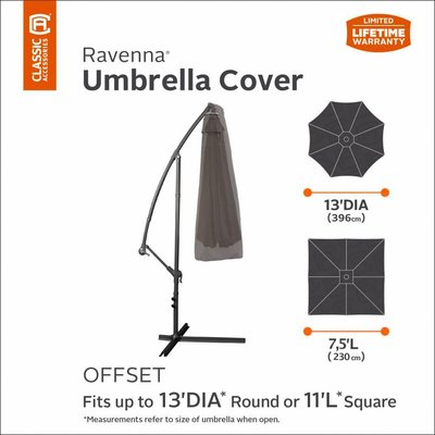 Ravenna, Classic Accessories Parasol hoes voor vrijhangende zweefparasol, 220 cm lang,  geschikt voor max.  diam 396 cm of vierkant 230 x 230 cm