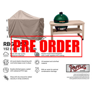 !!PRE-ORDER!! Hoes voor Big Green Egg barbecue, 152 x 80 H: 80 / 140 cm