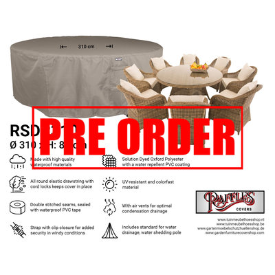 Raffles Covers !!PRE-ORDER - AFWIJKENDE LEVERTIJDEN!! Grote ronde tuinsethoes Ø 310 & H: 85 cm