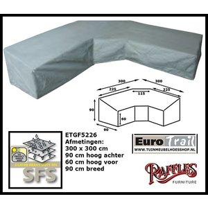 Hoes voor hoekbank met trapezehoek, 300 x 300 H: 90 / 60 cm