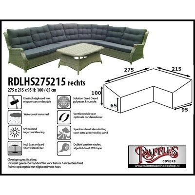 Raffles Covers Hoes lounge diningset hoekopstelling, rechts langer 275 x 215 x 95, H: 100 / 65 cm