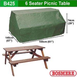 Afdekzeil voor picknicktafel, 155 x 145 H: 74 cm