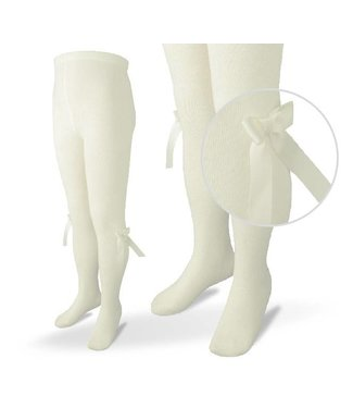 CARLOMAGNO - Socks Satin Bow Cotton Tights - Ivory