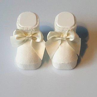 CARLOMAGNO - Socks Newborn Satin Bow Ivory Ankle Socks