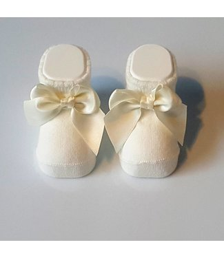 CARLOMAGNO - Socks Newborn Satin Bow Ivory Ankle Socks