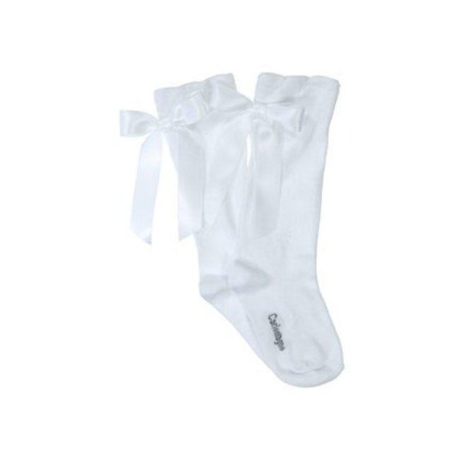 CARLOMAGNO - Socks White Satin Bow Knee High Socks