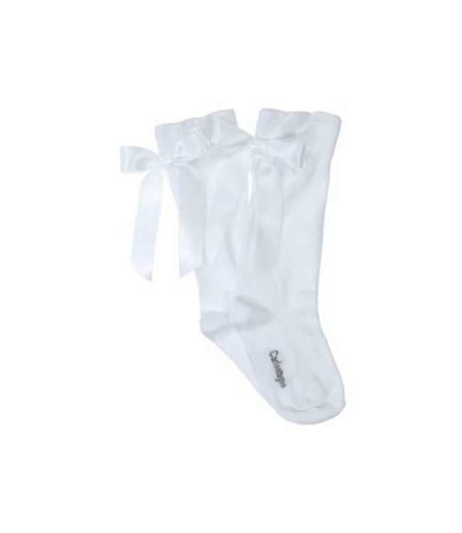CARLOMAGNO - Socks Kniekous Satijnen Strik Wit