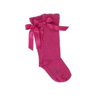 CARLOMAGNO - Socks Kniekous Satijnen Strik Fuchsia