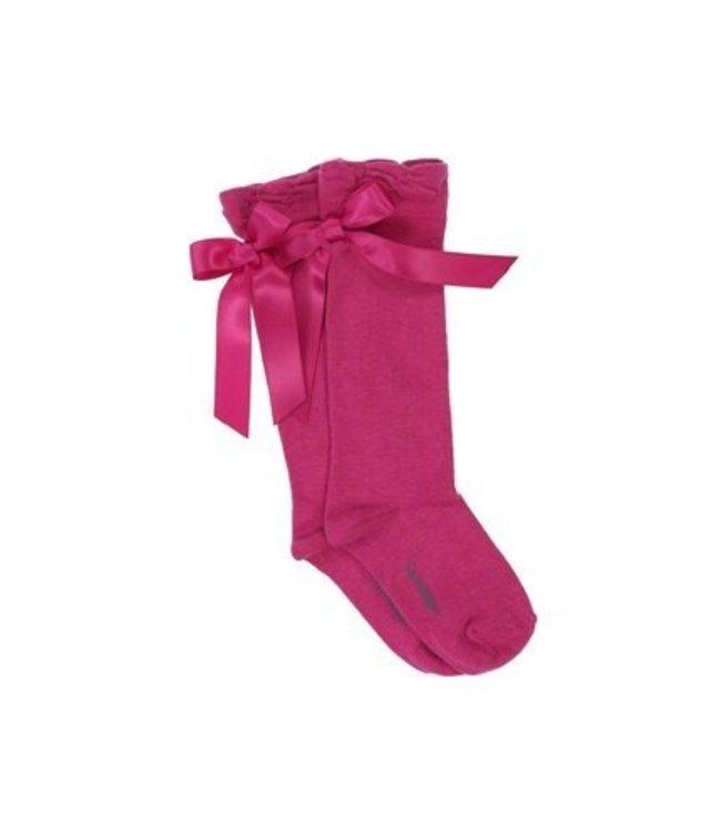 CARLOMAGNO - Socks Satin Bow Knee High Fuchsia