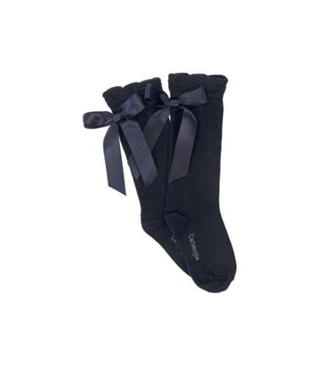 CARLOMAGNO - Socks Satin Bow Knee High Navy Blue