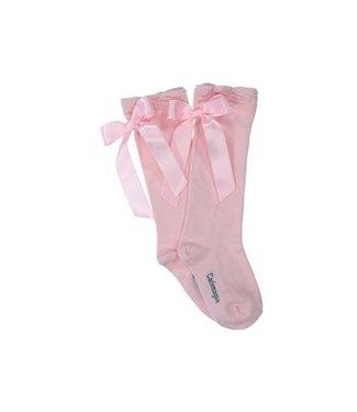CARLOMAGNO - Socks Roze Kniekous Satijnen Strik