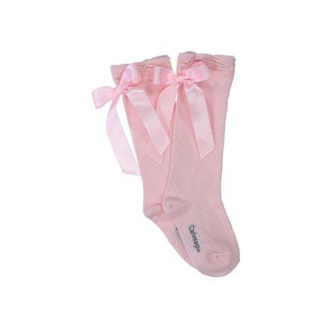 CARLOMAGNO - Socks Pink Satin Bow Knee Socks