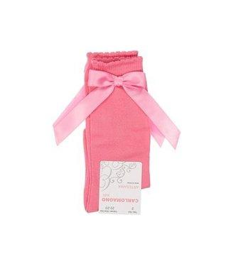CARLOMAGNO - Socks Satin Knee Sock Side Bow - Coral