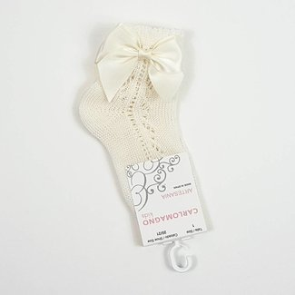 CARLOMAGNO - Socks Ankle Sock With Bow Ivory