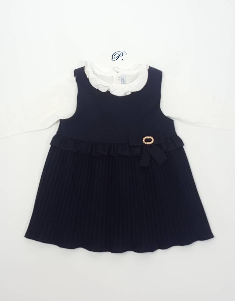 4bfc795ef3b5 Baby Girl Navy Blue Dress with Blouse - Petoetje