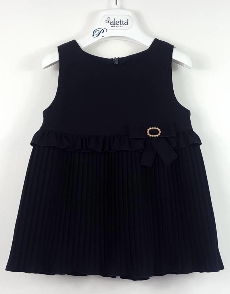 e861a6dd42bd ... ALETTA Baby Girl Navy Blue Dress with Blouse ...