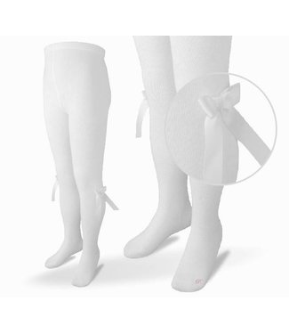 CARLOMAGNO - Socks Satin Bow Cotton Tights - White