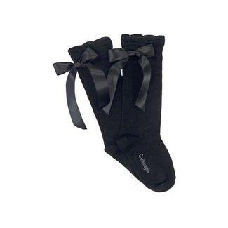 CARLOMAGNO - Socks Kniekous Satijnen Strik Zwart