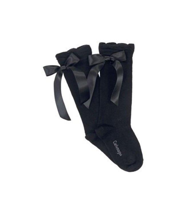 CARLOMAGNO - Socks Satin Bow Knee Socks Black